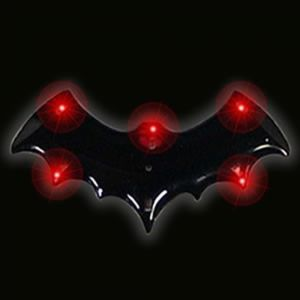 Light Up Halloween Flashing Pin Black Bat