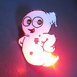 Ghost Halloween Light Up Flashing Pin