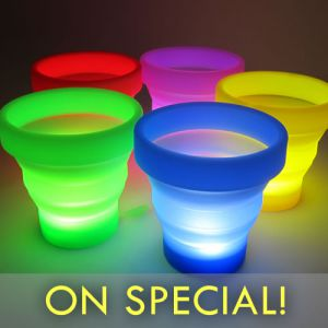 LED Glow Cup - Silicone Folding Travel Light Cups