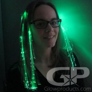 Green Fiber Optic Hair Clip Extensions