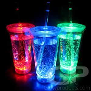 No-Spill Light Up LED Glow Cup with Lid - Multi-Color