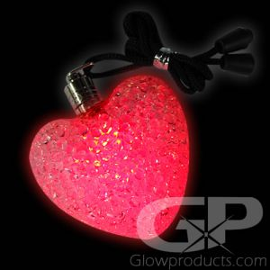 Light Up Heart Pendants Glow Necklaces Red