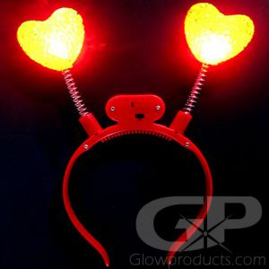 Red Heart Glowing Head Band Bopper