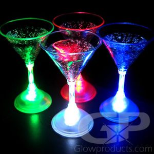 Glowing LED Light Martini Glasses - Single Color