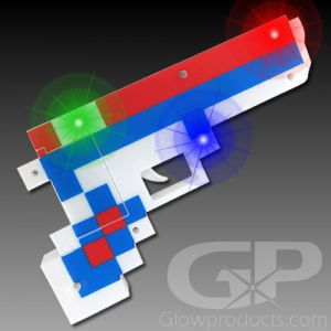 LED Light Up Pixel Toy Gun Blaster