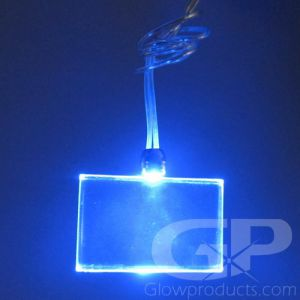 Light Up Rectangle Shape Glow Pendant Necklace