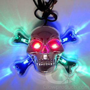 Light Up Skull Necklace Glowing Halloween Pendant