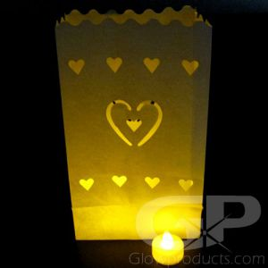 Luminary Bags with Tea Lights - Hearts