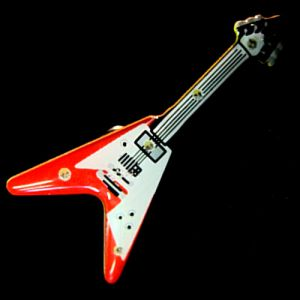 Flying V Guitar Flashing LED Light Up Lapel Pins Body Light