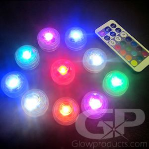 Waterproof LED Tea Lights - Multi-Color with Remote - 10 Piece Pack