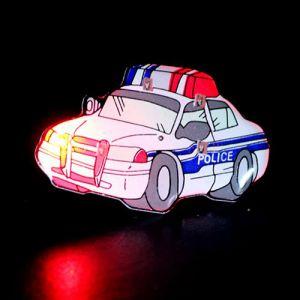 Light Up Police Car Flashing Pin Body Lights