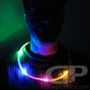 Battery LED Glow Necklaces with Color Chasing Lights