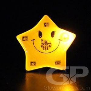 Smiling Star Light Up LED Flashing Lapel Pins Body Lights
