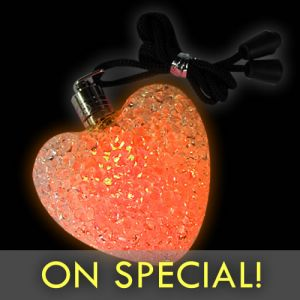 Large Heart Glow Necklace Pendants Orange Light