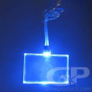 Light Up Rectangle Shape Glow Pendant Necklace