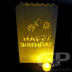 Luminary Bags with Tea Lights - Happy Birthday