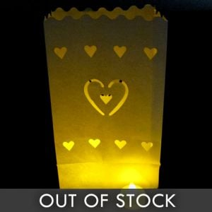 Luminary Bags with Tea Lights - Hearts