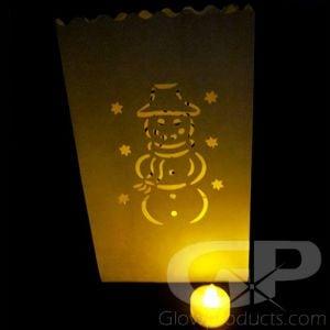 Luminary Bags with Tea Lights - Snowman