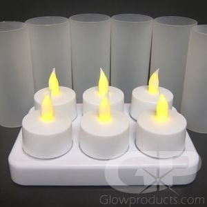 Rechargeable Tea Light Candles with Charging Base