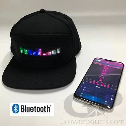 Light Up Message Led Display Hat Bluetooth Smartphone Glowproducts Com