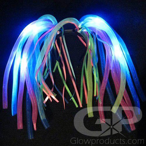 LIGHT Up Noodle capelli nubilato LED pazzo capelli Costume accendere i Dreadlock