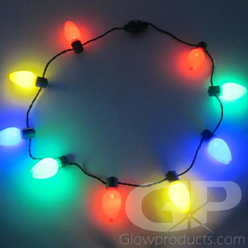 Christmas Light Necklace.Large Christmas Bulb Light Necklaces