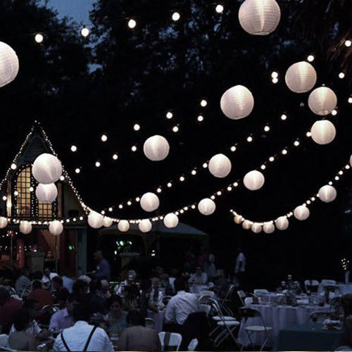 8 Inch White Paper Lanterns With Led Lights